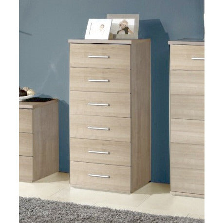 "Qmax ""Ambassador"" Drawer Chest Range. Washed Oak Finish., 6-Drawer Tallboy"