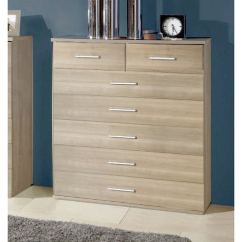 "Qmax ""Ambassador"" Drawer Chest Range. Washed Oak Finish., 5+2 Drawer Wide Chest"