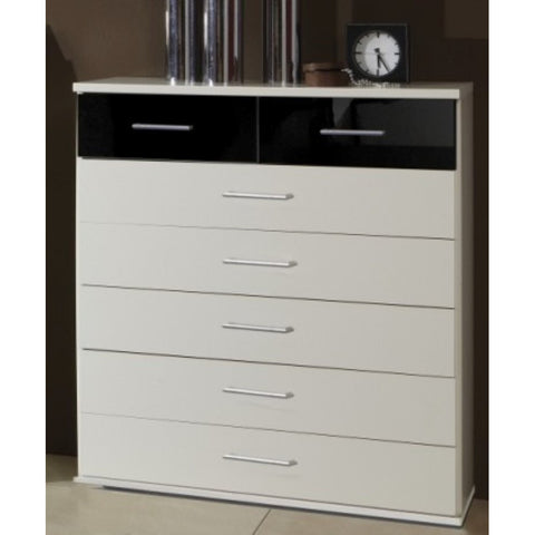 "Qmax ""Grande"" Drawer Chest Range. White & High Gloss Black., [product_variation] - Freedom Homestore"