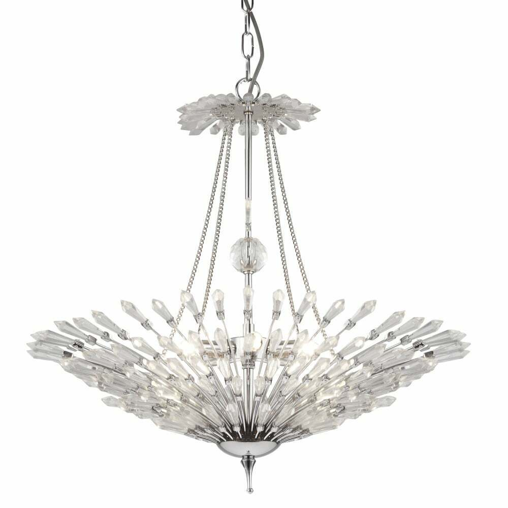 "Searchlight ""Fan"" Crystal Chandelier Celing Pendant Light 1626-6CC, [product_variation] - Freedom Homestore"