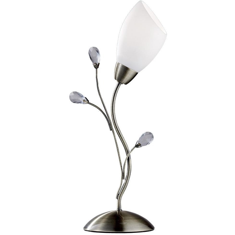 "Searchlight ""Gardenia"" 1761 Crystal Flower Table Lamp in Brass or Chrome, [product_variation] - Freedom Homestore"