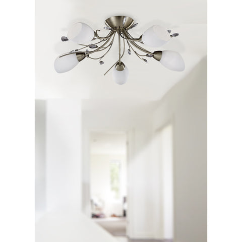"Searchlight ""Gardenia"" 1765-5CC Frosted Glass Crystal Light Fittings Chrome, [product_variation] - Freedom Homestore"