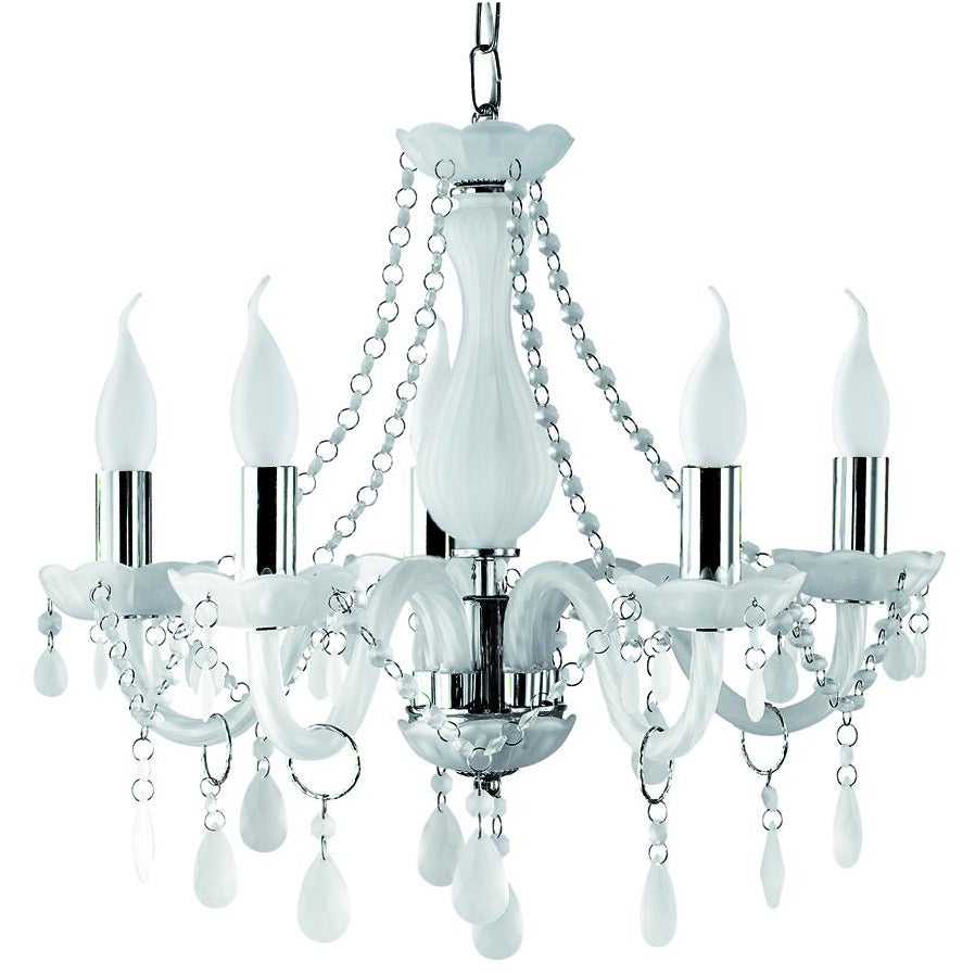 Searchlight 1985-5wh. White Frosted Glass Marie Therese Style Chandelier Light., [product_variation] - Freedom Homestore