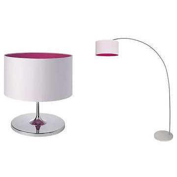 Sompex 'Fuchsia' Matching Table & Floor Lamps Lights Pink & White Chrome, at Freedom Homestore