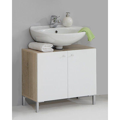 'Bilbao' Matching Bathroom Units / Suite. Gloss White & Washed Oak, [product_variation] - Freedom Homestore
