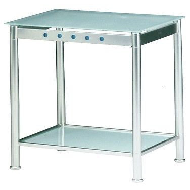 Clear-Blue Quality Brushed Steel Effect & Frosted Glass Designer Side/End Tables, [product_variation] - Freedom Homestore