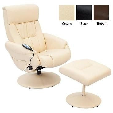 Relaxateeze Venice Lazio Leatherette Massage Swivel Recliner With Footstool