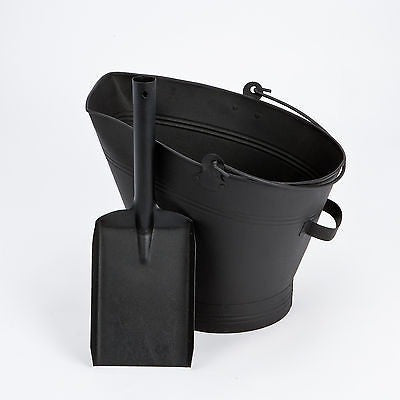 "Black ""Waterloo"" Ash/Coal Fireplace Bucket With Shovel. Fireside Companion."