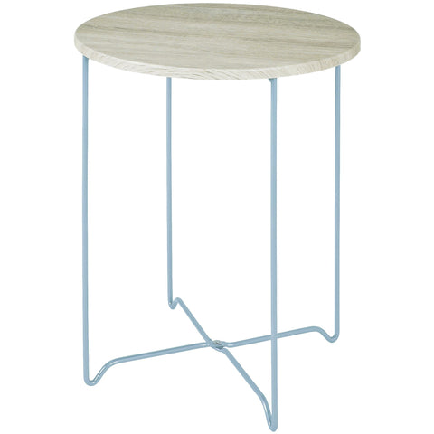 Round Side Table, Solid Oak Top on Aluminium Tone Wire Legs, [product_variation] - Freedom Homestore