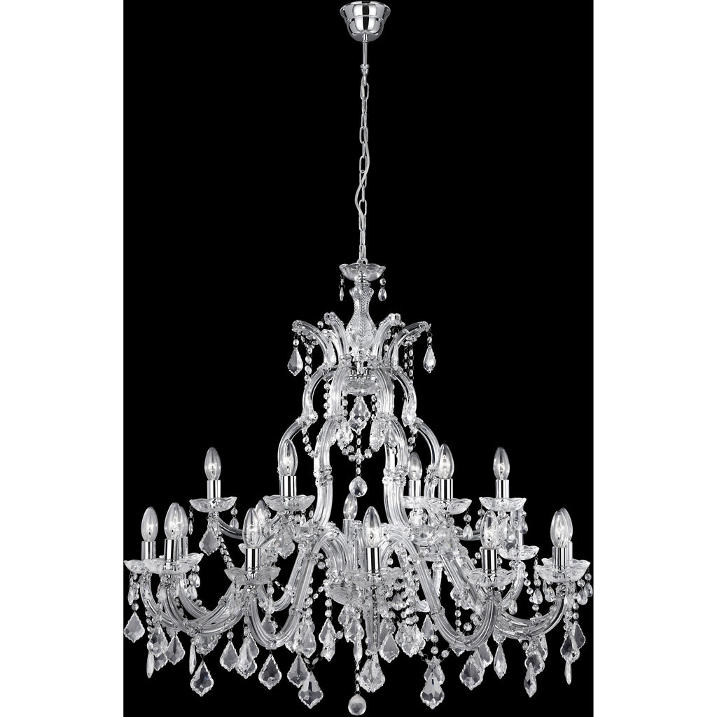 Searchlight LARGE Marie Therese Glass Crystal Chandelier in Chrome or Brass, [product_variation] - Freedom Homestore