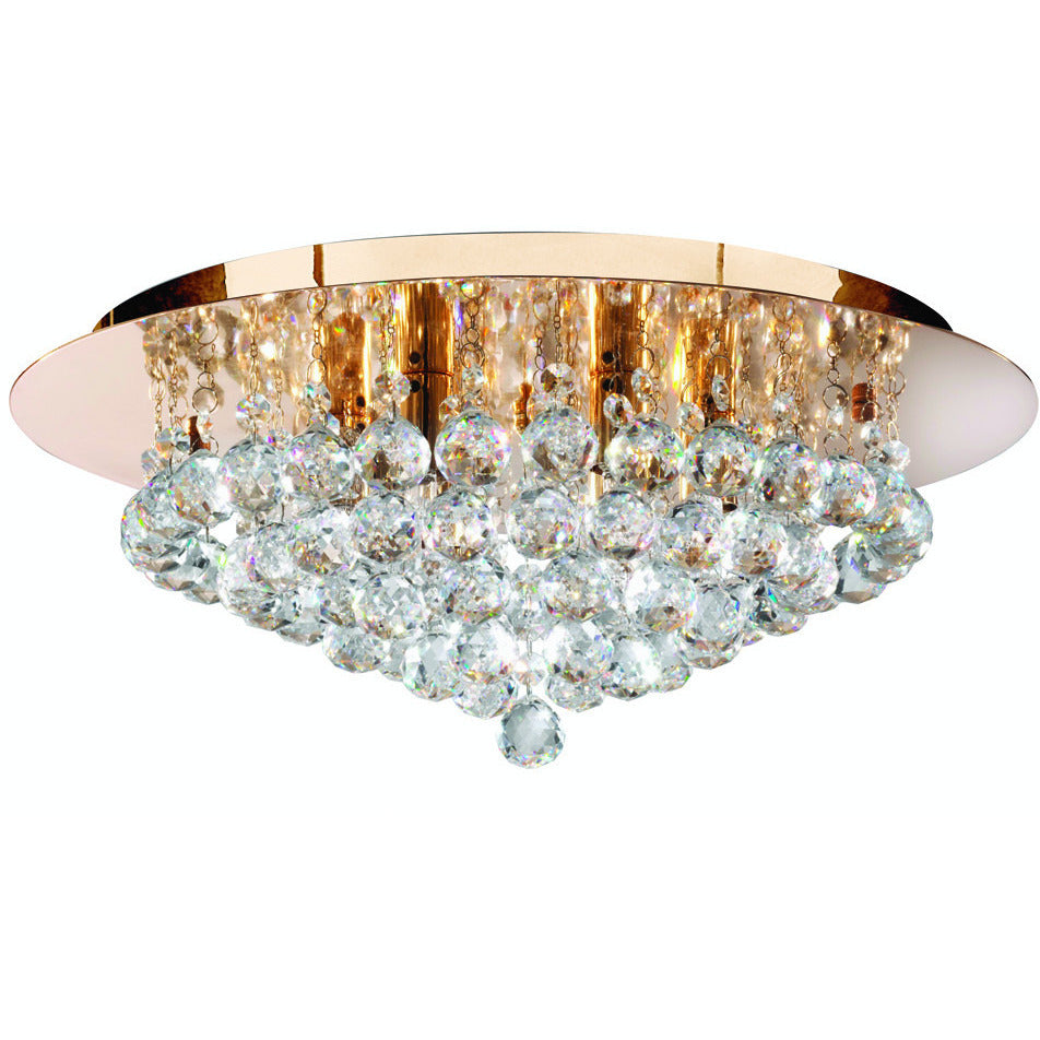 Searchlight 3406-6GO Hanna 6 Light Gold Round Flush Cl Ear Crystal Balls Light.,