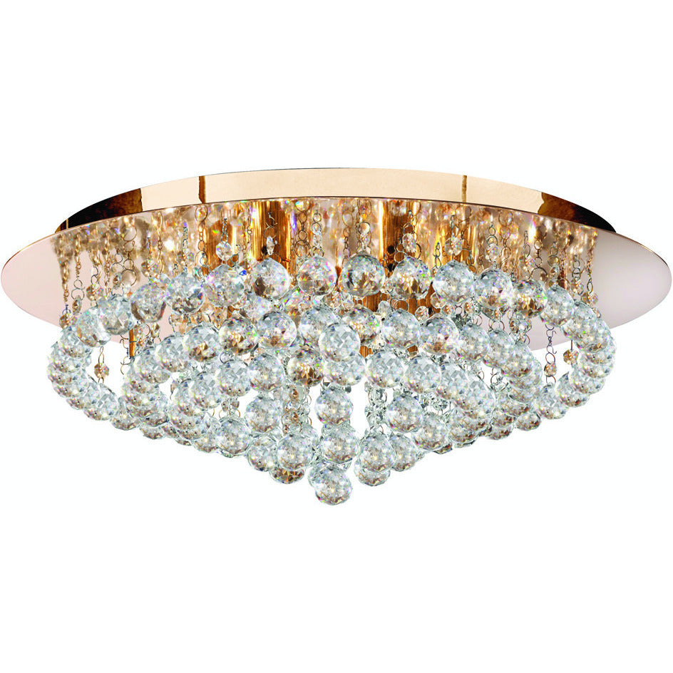 Searchlight 3408-8GO Hanna 8  Light Gold Round Flush Clear Crystal Balls Light., [product_variation] - Freedom Homestore