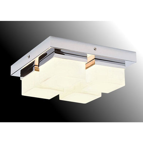 4-light Bathroom Ceiling Pendant 'Saxby Pure 34277' Chrome & Opal Glass. IP44.