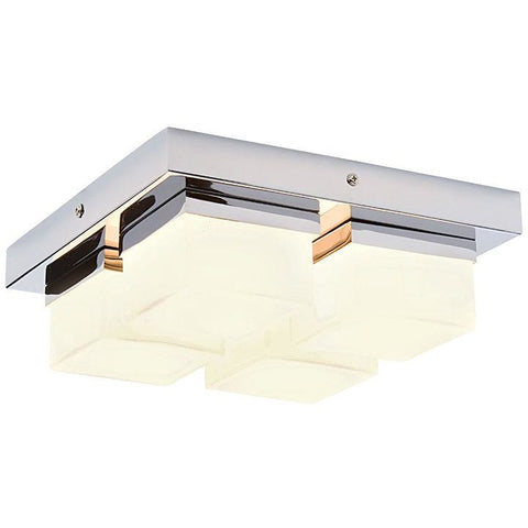 4-light Bathroom Ceiling Pendant 'Saxby Pure 34277' Chrome & Opal Glass. IP44., [product_variation] - Freedom Homestore