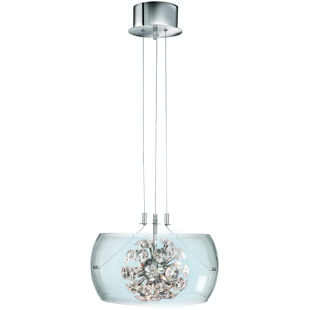 *CLEARANCE* Searchlight 3809-9cc 'Safia' Glass Drum Pendant Ceiling Light, [product_variation] - Freedom Homestore