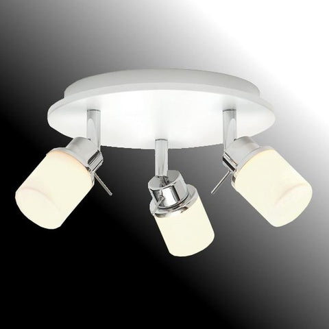 3-light Bathroom Ceiling Pendant 'Saxby Rennes 39164' White & Opal Glass. IP44.