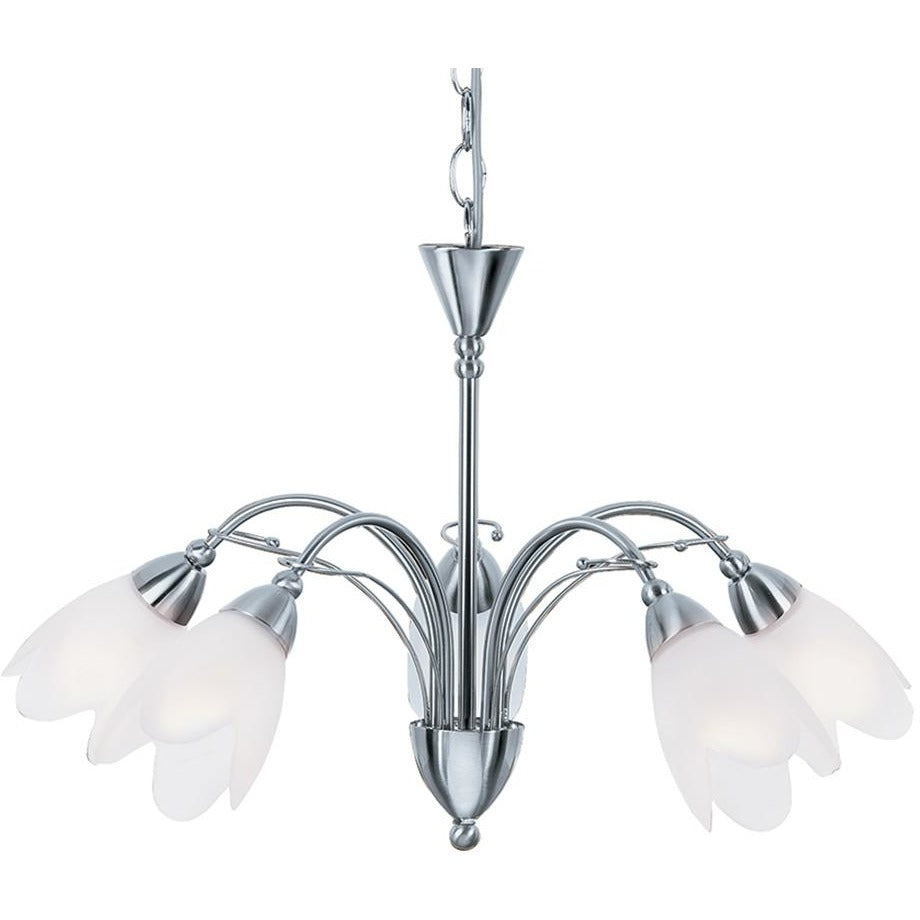"Searchlight ""Petal"" 4905-5SS Frosted Glass Light Chandelier Satin Silver, [product_variation] - Freedom Homestore"