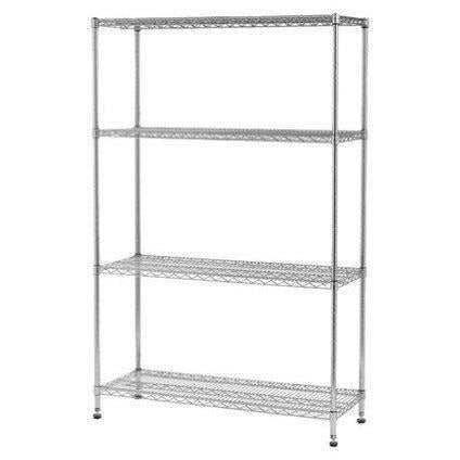 Heavy Duty Commercial Grade 4-Tier Chrome Wire Steel Shelving Storage Unit Bay, [product_variation] - Freedom Homestore