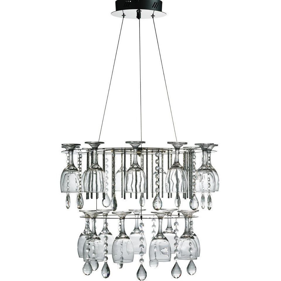 Searchlight 51521CC Vino - LED Wine Glass Chandelier Ceiling Light., [product_variation] - Freedom Homestore