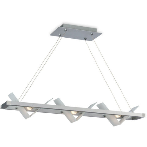 CLEARANCE Firstlight 'Frame' 3 Light Ceiling Pendant. Satin Steel & Glass 5420SS