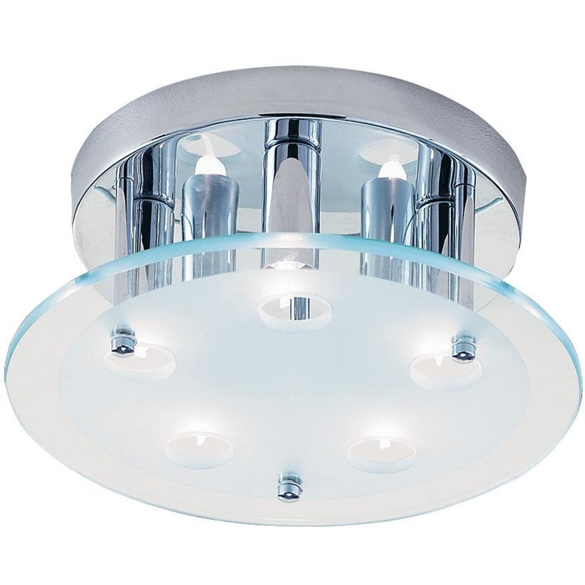 CLEARANCE - Searchlight 5535CC 'Dallas' Chrome Flush Frosted Glass, [product_variation] - Freedom Homestore