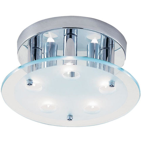 CLEARANCE - Searchlight 5535CC 'Dallas' Chrome Flush Frosted Glass