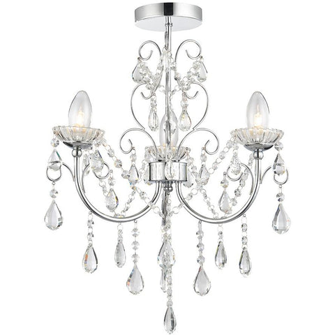 Bathroom Chandelier, Saxby 'Tabitha' 61251. 3-Light IP44 Waterproof Chrome