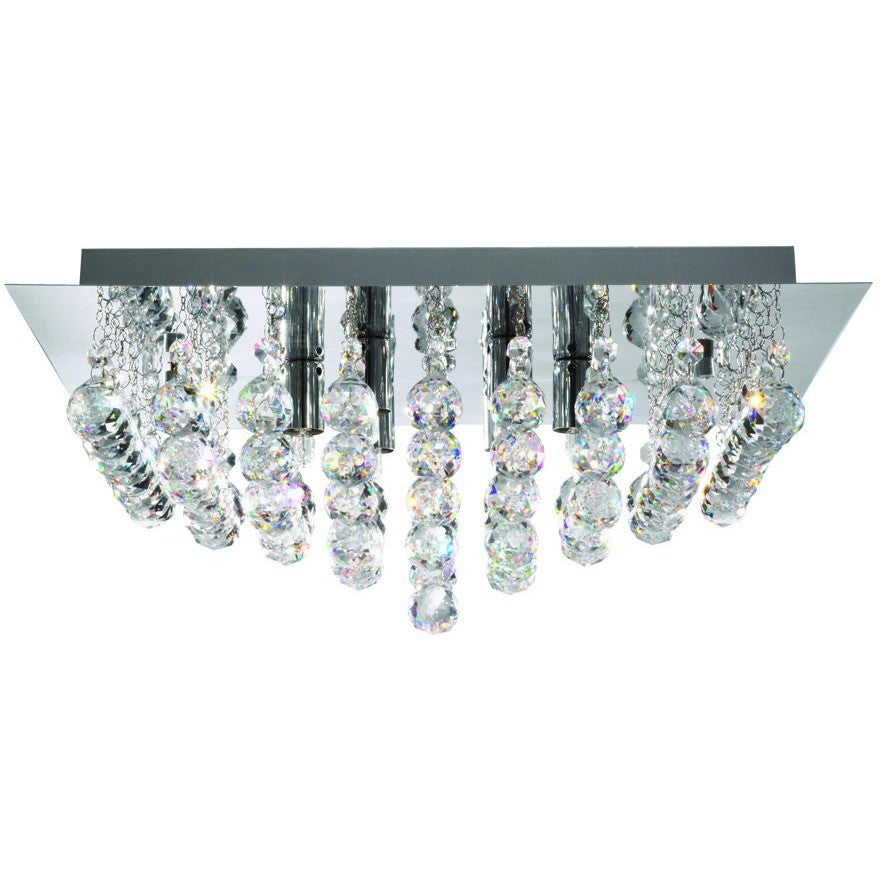 Searchlight 6408-8CC Hanna 8  Light Chrome Square Flush-Crystal Balls Light., [product_variation] - Freedom Homestore