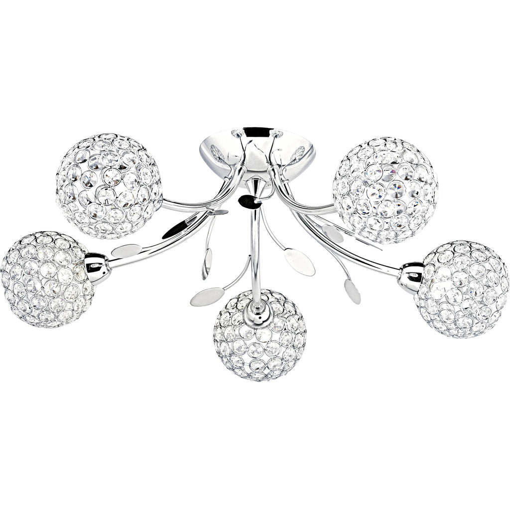 Searchlight 6575-5CC 'Bellis 2' 5-Light Chrome Flush Chandelier - Round Shades, [product_variation] - Freedom Homestore