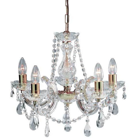 Marie Therese Glass 'Crystal' Chandelier Chrome or Brass - Acrylic Arms., [product_variation] - Freedom Homestore