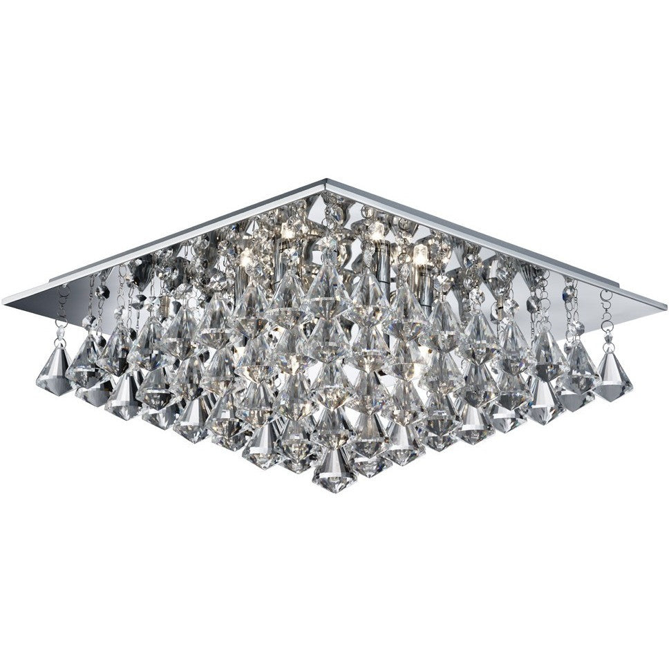 Searchlight 7306-6CC Hanna - 6 Light Square Flush Ceiling, Crystal Drops,