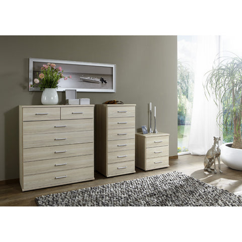 "Qmax ""Ambassador"" Drawer Chest Range. Washed Oak Finish."