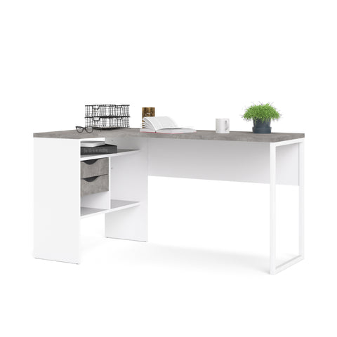 Tvilum Corner Desk. White & Stone Finish. Computer/PC Desk W Storage