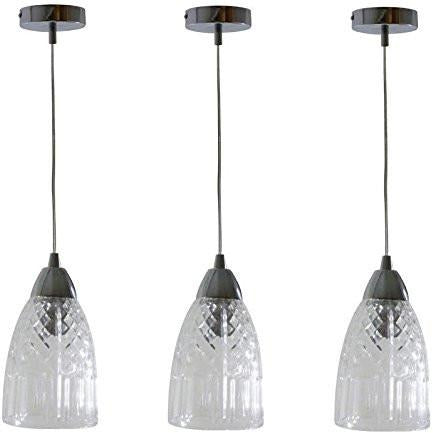 Set of 3 Marco Tielle Cylinder Crystal Pendant Ceiling Lights w Chrome Trim