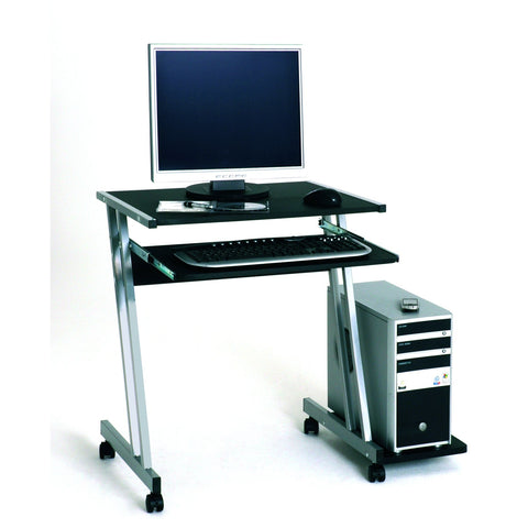 Black Glass or Wood Z-Shape PC Computer Desk Table