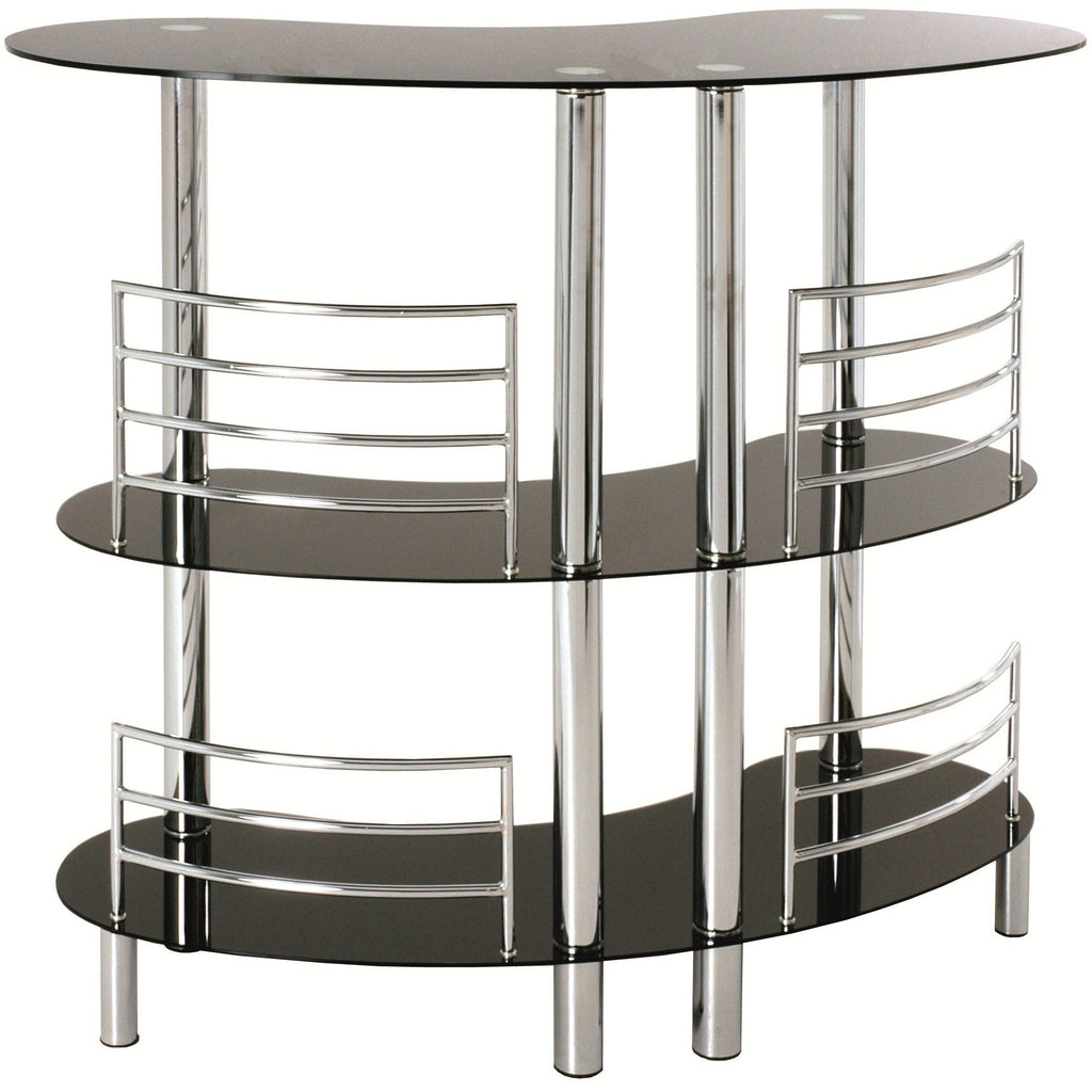 Black Glass & Chrome 3 Tier Home Pub Drinks Bar Table 95222, [product_variation] - Freedom Homestore