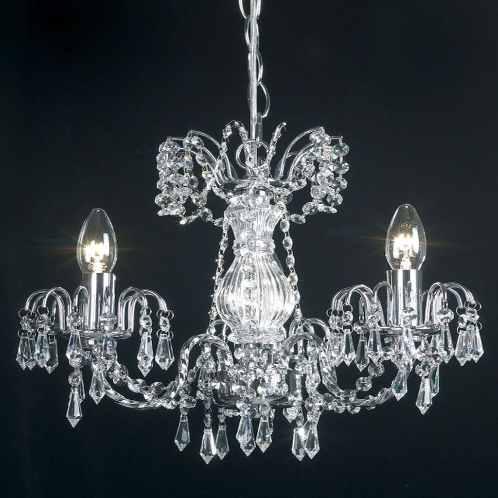 "Endon ""Rumba"" 96553-CH. 3-Light Crystal Ceiling Chandelier, Marie Therese Style,"