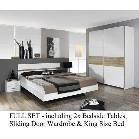 Rauch 'Almada' Range German Made Bedroom Furniture. White with San Remo Oak., [product_variation] - Freedom Homestore
