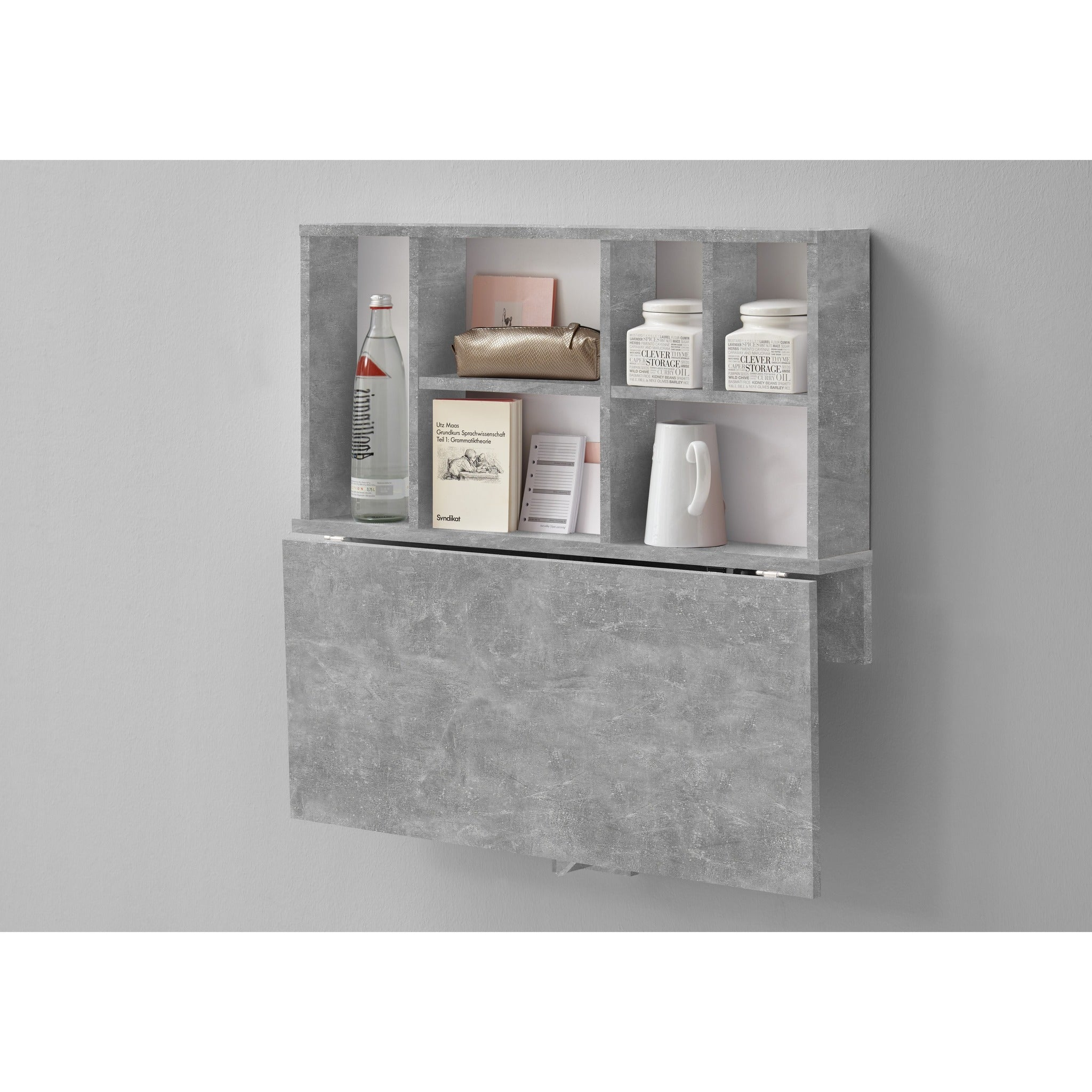 Arta Folding Wall Desk Shelf Storage Hallway Phone Table Stone