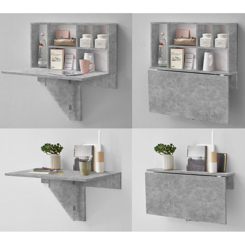 """Arta"" Folding Wall Desk / Shelf Storage, Hallway Phone Table, Stone Finish."