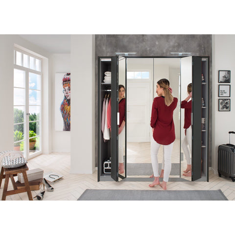 Qmax Bi-Fold Mirror Wardrobe 'Berlin'. German-Made Bedroom Furniture. Graphite, [product_variation] - Freedom Homestore