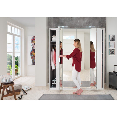 Qmax Bi-Fold Mirror Wardrobe 'Berlin'. German-Made Bedroom Furniture. White., [product_variation] - Freedom Homestore