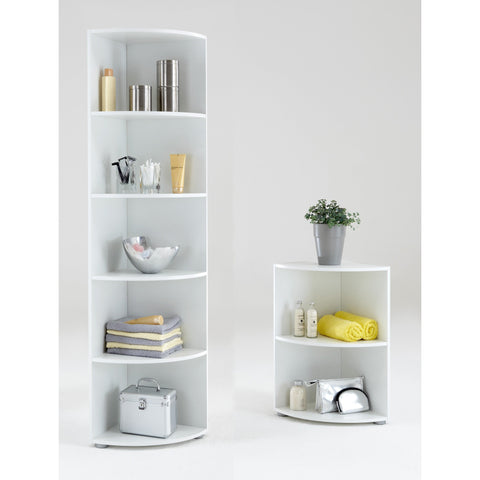 """Big Eck & Wee Eck"" Bathroom / Kitchen Corner Shelf. White, Floor Standing."
