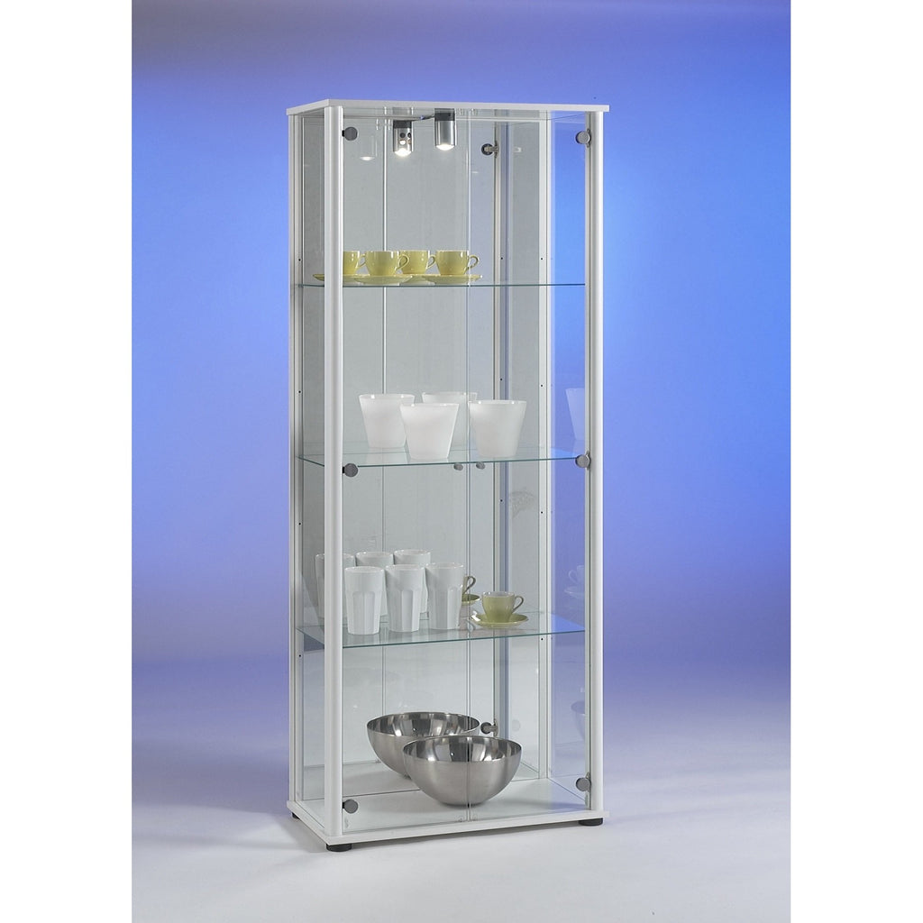 'Bora-3' Floor Standing Glass & Wood Display or Trophy Cabinet w/ Lamp & Mirror