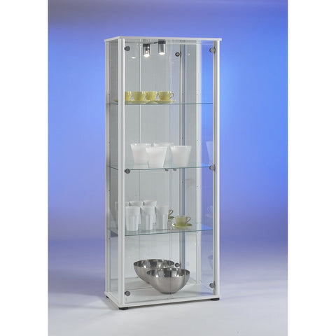 'Bora-3' Floor Standing Glass & Wood Display or Trophy Cabinet w/ Lamp & Mirror, [product_variation] - Freedom Homestore