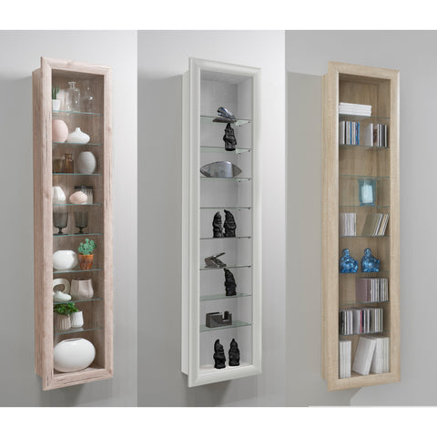 """Bora-9"" Wall Mounted Display Cabinet Shelving. Glass & Wood. Vertical."