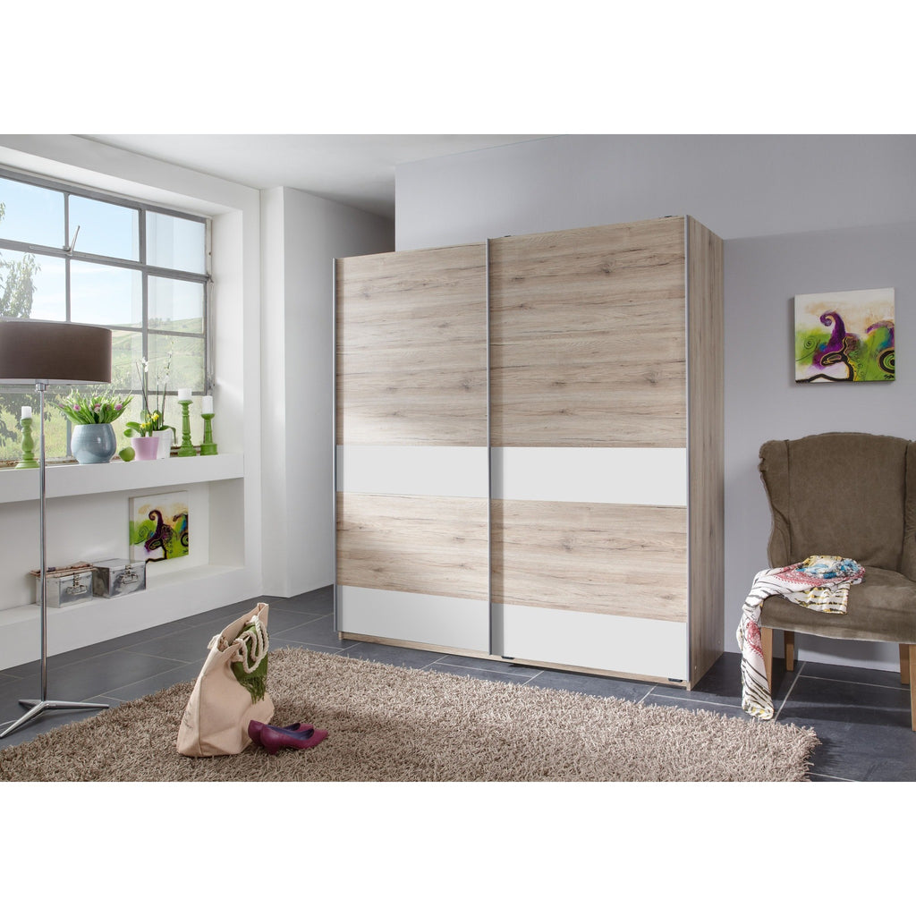 ASSEMBLY INCLUDED Qmax 'Chess'  Sliding Door Wardrobe. SR Oak & White. German Bedroom Furniture, [product_variation] - Freedom Homestore