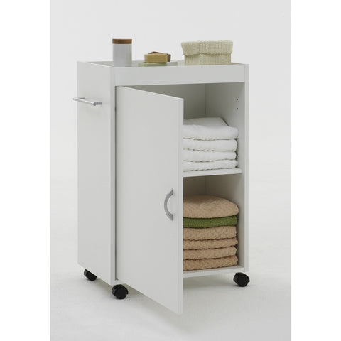 """Cordoba"" Gloss White Bathroom Cabinet w Castors"
