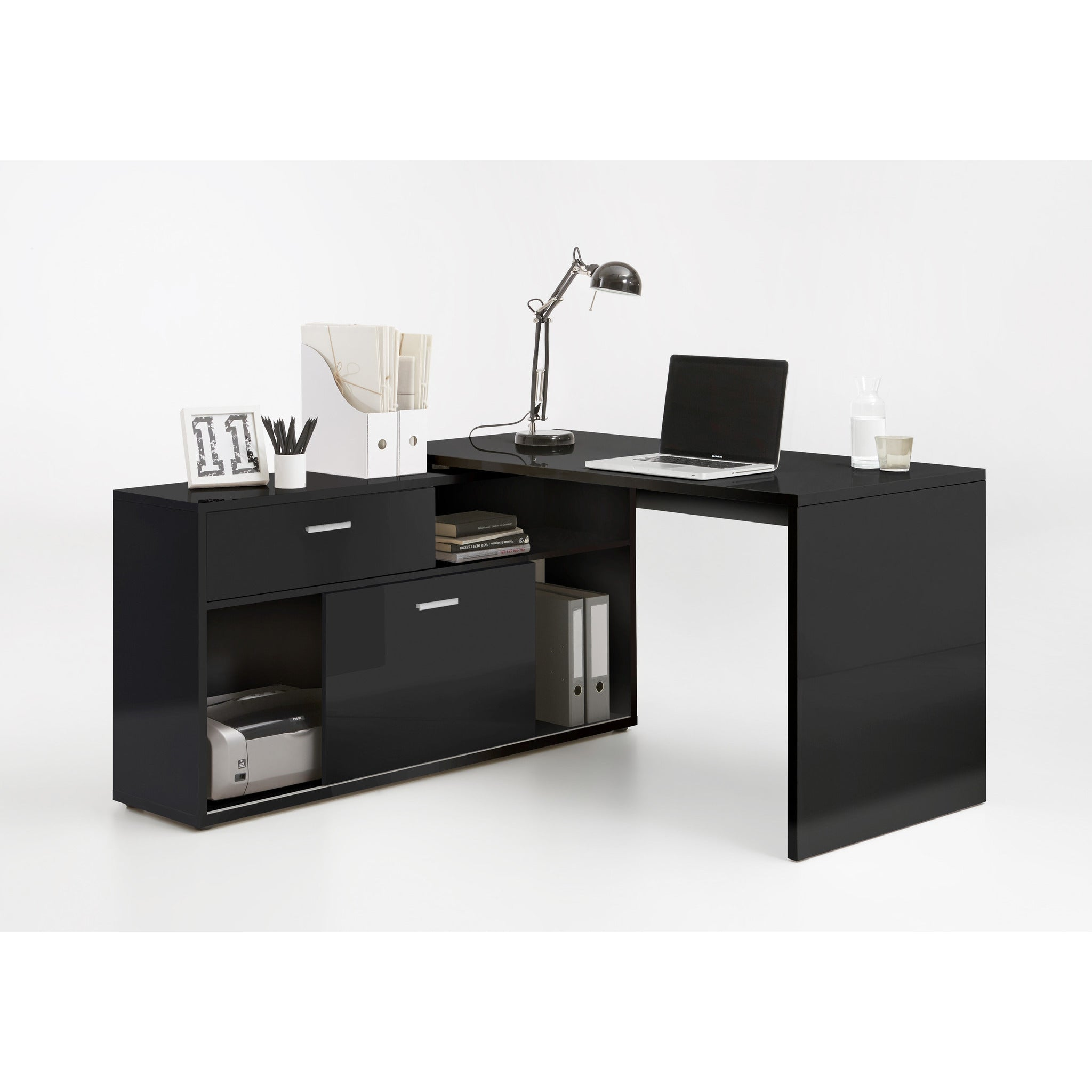 Groovy Assembly Included Diego High Gloss L Shape Corner Desk Pc Computer Desk Download Free Architecture Designs Momecebritishbridgeorg