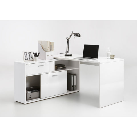 """Diego"" HIGH GLOSS L-Shape Corner Desk, Reversible PC Computer Desk., [product_variation] - Freedom Homestore"